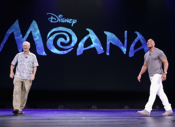 "ANAHEIM, CA - AUGUST 14: Director John Musker (L) and actor Dwayne Johnson of MOANA took part today in ""Pixar and Walt Disney Animation Studios: The Upcoming Films"" presentation at Disney's D23 EXPO 2015 in Anaheim, Calif.  (Photo by Jesse Grant/Getty Images for Disney)"