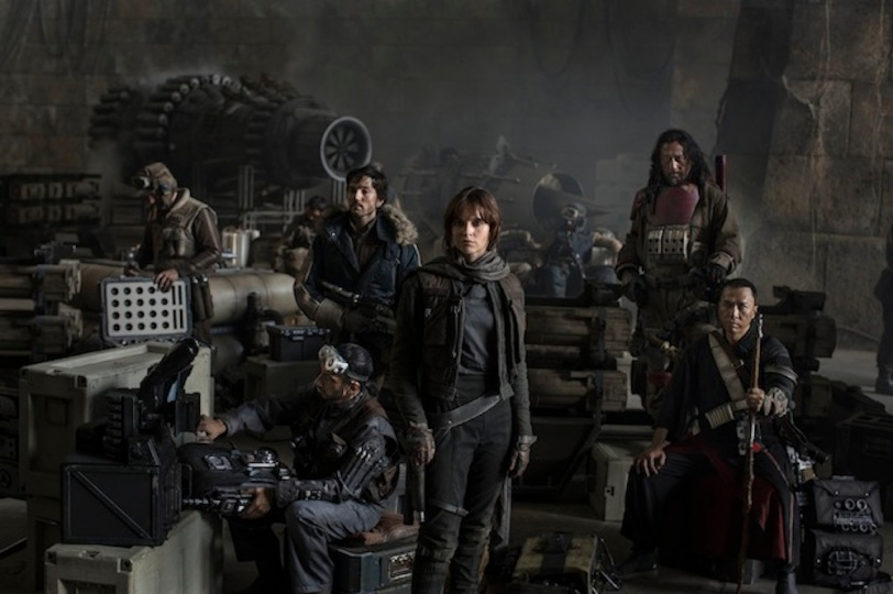 Star Wars: Rogue One..L to R: Actors Riz Ahmed, Diego Luna, Felicity Jones, Jiang Wen and Donnie Yen..Photo Credit: Jonathan Olley..©Lucasfilm 2016